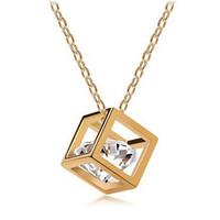 Fashion New Wholesale Jewelry Silver CZ Diamond Crystal Love Magic Cube Square Shape Necklace Pendant