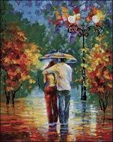 100% exact printing canvas Top Quality cross stitch set rain love, walk in the rain oil painting