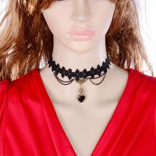 Z17T7 DIY Lamour black lace gothic choker necklaces & pendants false collar women accessories(China (Mainland))