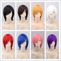 Unisex Short Staright Cosplay Cosutmne Wig Halloween Hair Heat Resistance Fibre Black Brown Pink Purple Blue 14 Colors