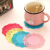 10 pcs/Lot Colored Lace Cup Mat PVC Round Coaster Zakka Tea Placement accessories for table Kitchen Ikea Novelty households