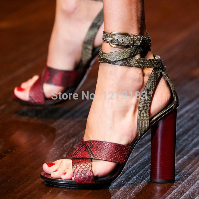 2015 new fashion sexy snakeskin mixed color women sandals ankle wrap hollow out high heel sandal shoes(China (Mainland))