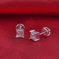 LSE939 Sterling Silver CZ Stud Earrings jewelry 6mm Round AAA Cubic Zirconia w/ SCREW BACKS 5mm, free shipping