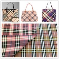 Y54 Luxury Faux Leather Fabric Fashion Grid handbag leather  Bag materails PVC Coated Fabric Leather Rexine MOQ 1YARD