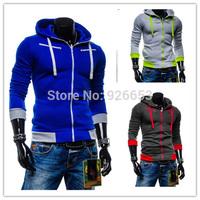 New 2014 Autumn Winter Mens Fashion Sweatshirt Cardigan Hoodies Slim Jacket Casual Fleece Coat 5 Color High Quality