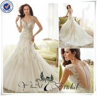 WDQ139 2014 Latest Design V Neck Sheer Back Crystal Appliques For Wedding Dresses