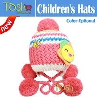 2014 New Hot Baby Girls Toddlers Knitted Hat Sunflower Pattern Earflap Wool Crochet Winter Warm Cap Beanie Free Shipping