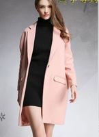 Handsome big woolen suit collar long wool coat woolen coat fall and winter clothes