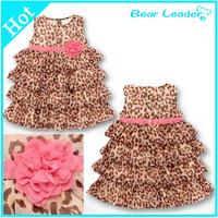 Fashion summer 1pcs baby girl's leopard print dress cute Children's dresses Children's clothing