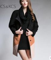 New fashion big wind hit color stitching wool coat jacket