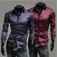 fashion imitation silk  bright  surface  Casual Men's Slim long sleeve shirts.  High Quality Shirt .Black. Purple. Wine red