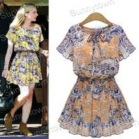 Hot Sale New fashion 2015 spring summer dress women chiffon floral print casual dress yellow coffee plus size