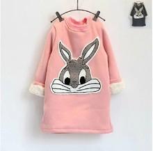 2014 Children Hoodies Bunny Plus Thick Velvet Long-sleeved Sweater  Hoodie Rabbit Dress Kids Sweatshirt(China (Mainland))