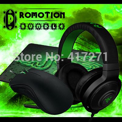 Free Shipping,Promotion Bundle,Razer kraken Pro Black+ Deathadder 3500/Deathadder 2013+ Goliathus Medium Speed Version,In Stock(China (Mainland))