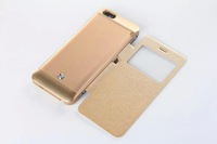Hot Selling! Battery Rechargeable Flip Leather Cover Power Bank Case Window View For iphone 6 4.7 inch