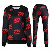 2015 New Fashion Camiseta Emoji Print Women Hoodies And Pants Plus Size Women Clothing 2 Piece Tracksuit Casual 3D Sweatshirt