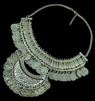 Bohemian Flower Child Silver Fringe Bib Coin  Necklace Ethnic Tribal  Women Collar Jewelry