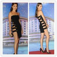 Black Color Newest Arrival 2015 Women's Strapless Off the Shoulder HL Bandage Dress Sexy Mini Dress Evening Party Dress