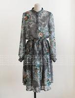 1128 spring and summer serpentine pattern one-piece dress