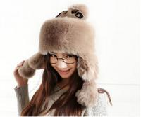 Women Winter Hat Solid Fur Hats  Rabbit Female Wind Proof Russian Hat Ear Flaps Bomber Hat Snow