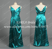 Cowl Back Gorgeous Teal Green Long Women Evening Dress Sexy V Neck Bead Cap Sleeve T1525 Special Occasion Dresses