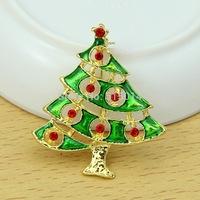 Free Shipping ! 100pcs/lot gold Christmas tree enamel brooch pin for christmas decoration