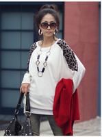 2011 new arrival summer women's  leopard print loose knitted cotton t-shirt long-sleeve T-shirt  A10512