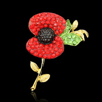 Free Shipping ! 100pcs/lot UK anniversary poppy brooches pins for garment decoration in gold plating