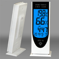 Free Shipping Mini Indoor Thermometer Hygrometer Wall Temperature Measure with LCD monitor timekeeping system and alarm clock