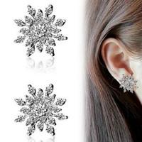 Hot Sale 1 Pair Women Fashion Crystal Rhinestone Snowflake Star Ear Stud Earring Wedding Bridal Gift