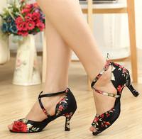 Customized Women's Ankle Strap Satin Latin / Ballroom Dance Shoes