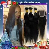 3pcs brazilian straight hair bundles with 1pc lace closure 4''x4'' cheap brazilian virgin hair straight human hair  color 1b