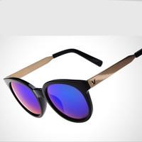 2015 New Retro Metal Round Brand Designer UV400 Protection Outdoor Goggles Eyeglasses Drving Wayfarer Woman Sunglasses Oculos