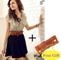 NEW! With belt! Fashion Women Lady Chiffon Dress Summer Short Dots Dress Polka Waist Mini Dress Backless, Free Shipping