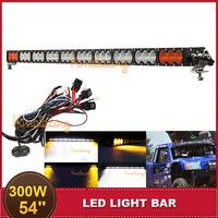 300W 54'' CREE Offroad LED Light Bar Amber Desert Driving ATV SUV UTV UTE 4WD Trailer 4X4 Wagon Racing Vehicle Off Road Fog Lamp