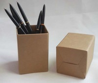 Size 7x7x10cm Brown kraft cardboard pen container creative office items environmental pen holder 25pcs/lot