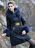 Rara women's fashion luxury large fur collar blue colorant match color slim female Winter long down coat 2015 design dress