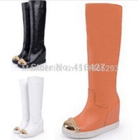 Top quality Leather Boots Gold Toe Wedges Boots For Women Height Increasing Platform Knee-high Boots winter