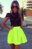 New Arrival Women Skirt Autumn&Winter 2014 Neon Green Short Skater Skirt