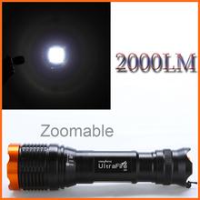 Led Flashlight CREE-xml T6 Led High Quality 18650 Waterproof Flashlight 2000lm Ultrafire Cree XML T6 Tactical Torch Lantern(China (Mainland))