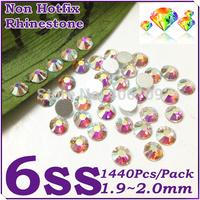 Super Shiny 1440PCS SS6 (1.9-2.0mm) Glitter Non Hotfix Crystal White AB Color 3D Nail Art Decorations Flatback Rhinestones