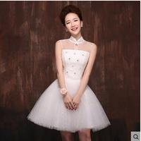 New lace wedding dress bridesmaid dress short paragraph the word shoulder white dress skirt show girl