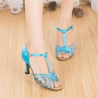 Customized Heels Women's Satin Upper Ankle Strap Ballroom / Latin Black Dance Shoes With Rhinestone JYG842