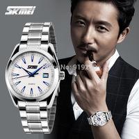 Free shipping 2015 fashion casual  Waterproof watch Men Calendar Stainless steel bracelet Quartz Wristwatches 6 colors--nbc