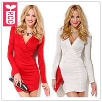 Drop ship!2015 new brand sexy Deep V-neck tight party dress long sleeve slim PLEATED prom bodycon