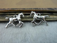 50Pcs 14*20mm Horse Charms Pendant Antique Silver Tone DIY Jewelry Making