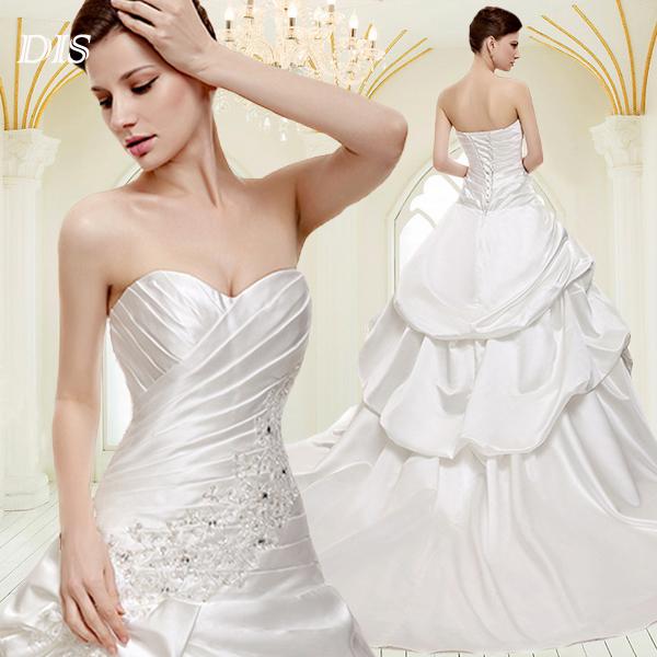 Dhl libre./rpx/aramex 2014 tache blanche avec de la broderie élégante robe de mariée robe de mariée robes stock 2/4/6/8/10/12/14 wd1342