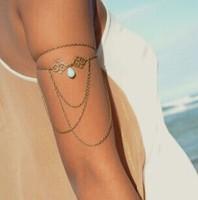 new arrival 2015 new fashion hollow out auspicious turquoise drop water tassel arm bracelet SL-006