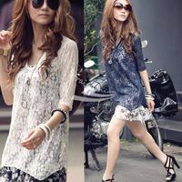 Women's Korean Fashion Two-Piece Chiffon Lace Dress Asymmetric Casual mini free shipping 3735#