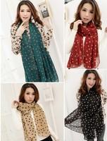 Korean version of Ruili Dot Chiffon scarves were little sweet princess lovely pink polka dot scarf, six color